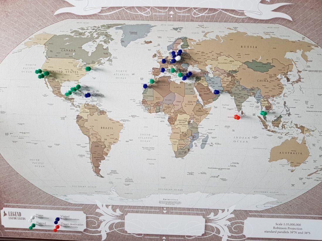 Mapa Podróży Świat przypnij swoje podróże od My Gift Dna cele