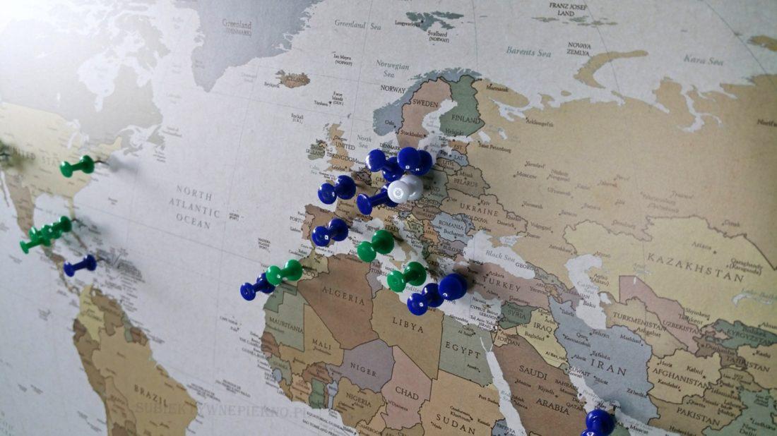 Personalizowana Mapa Podróży Świat przypnij swoje podróże My Gift Dna podróże