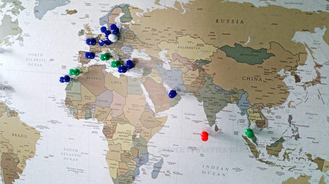Personalizowana Mapa Podróży Świat przypnij swoje podróże My Gift Dna wymarzone