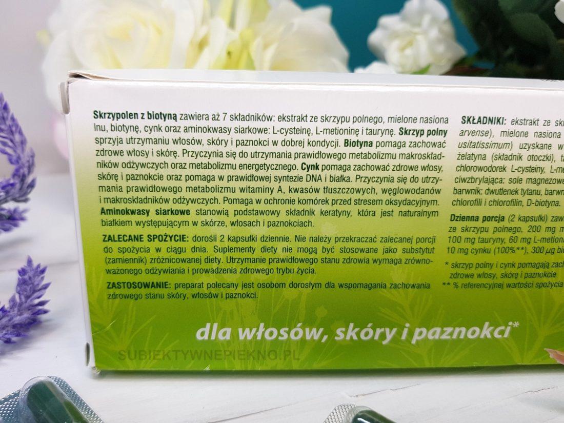 Skrzypolen z biotyną Oleofarm dla włosów, paznokci i skóry działanie, opinie, blog