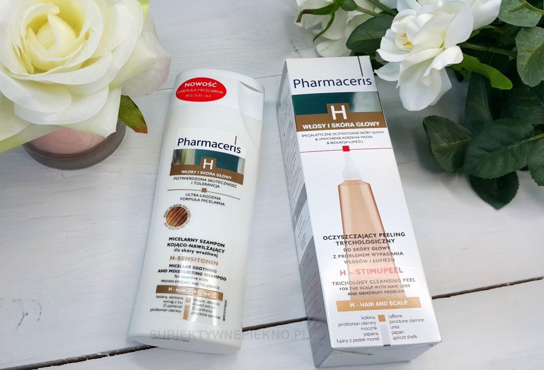 trychologiczny peeling do skóry głowy Pharmaceris H i micelarny szampon kojąco-nawilżający. Blog, opinie.