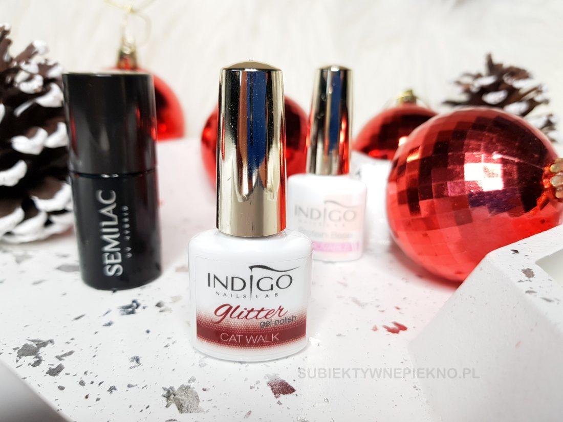 Lakier hybrydowy Indigo Nails Catwalk - piękna czerwień z drobinkami na święta i sylwestra