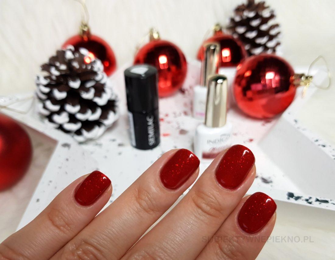 Indigo Catwalk swatche na paznokciach - piękna czerwień z drobinkami na święta i sylwestra