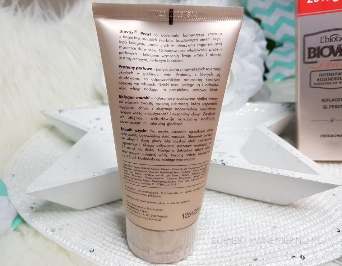Maska do włosów L'Biotica Biovax Pearl Kolagen i perły - działanie, skład, opinie, blog