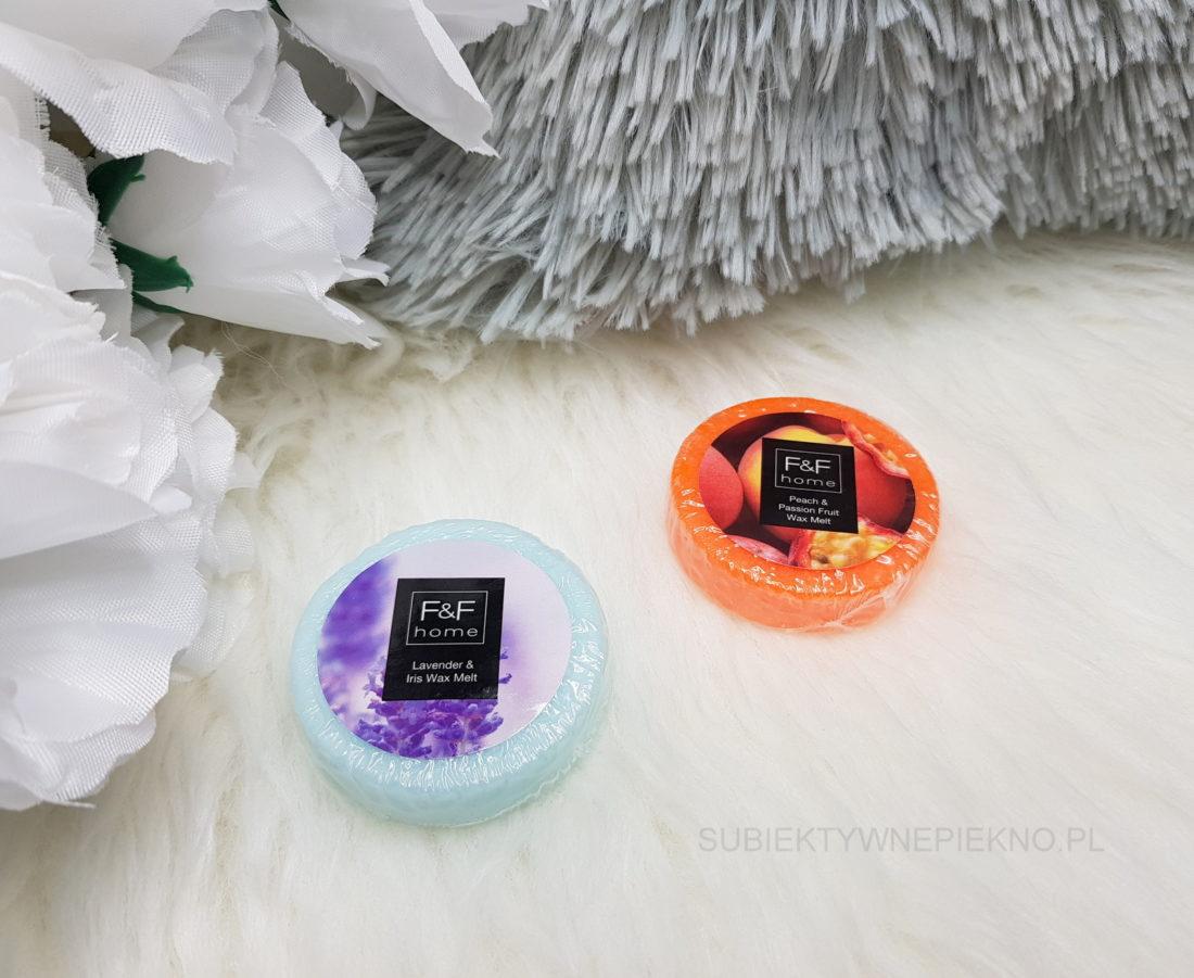 Woski zapachowe z Tesco - F&F Home Lavender & Iris i Peach & Passion Fruit
