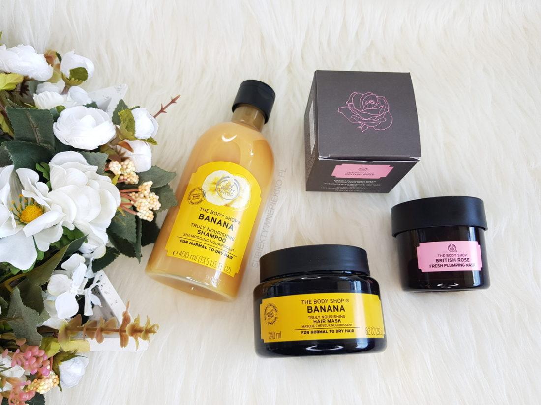 Nowości maj 2018 | The Body Shop szampon maska Banana, maseczka British Rose