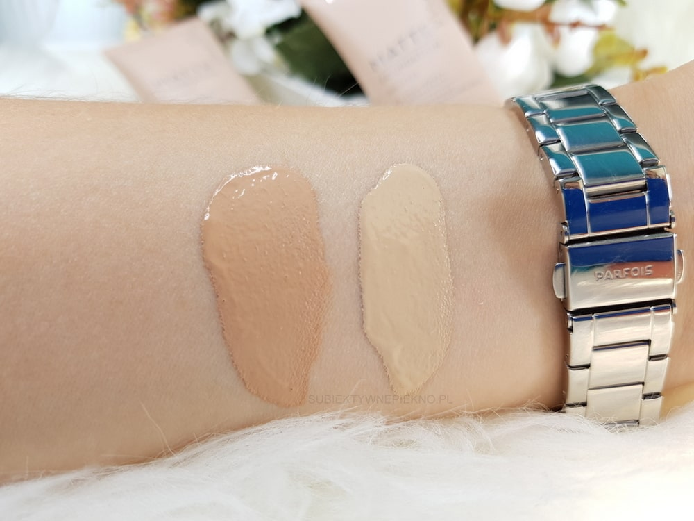 Podkład LUMENE MATTE FOUNDATION - swatche 1 Classic Beige i 2 Soft Honey