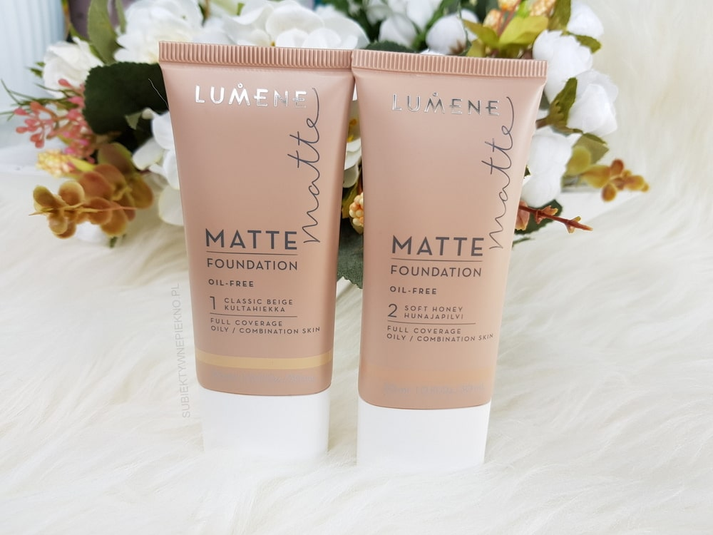 Podkład LUMENE MATTE FOUNDATION 1 Classic Beige i 2 Soft Honey blog, opinie