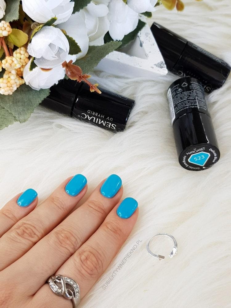 SEMILAC DELICATE BLUE swatche na paznokciach