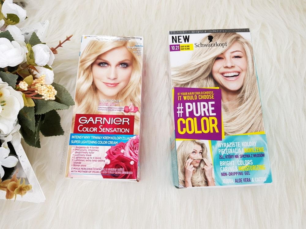 Farba Garnier Color Sensation 111 i Schwarzkopf Pure Color Baby Blond 10.21