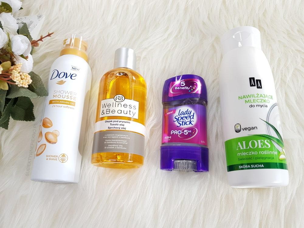 Pianka Dove, olejek Wellness & Beauty, antyperspirant Lady Speed Stick, mleczko pod prysznic AA