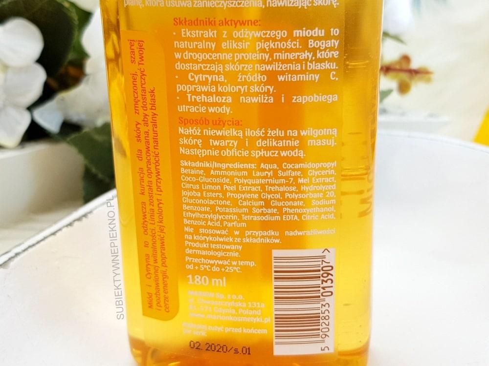 Marion Miód i Cytryna miodowy żel do mycia twarzy skład, opinie