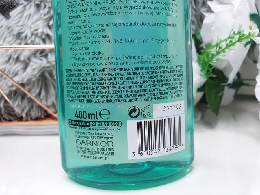 ALOE HYDRA BOMB szampon GARNIER FRUCTIS opinie, skład