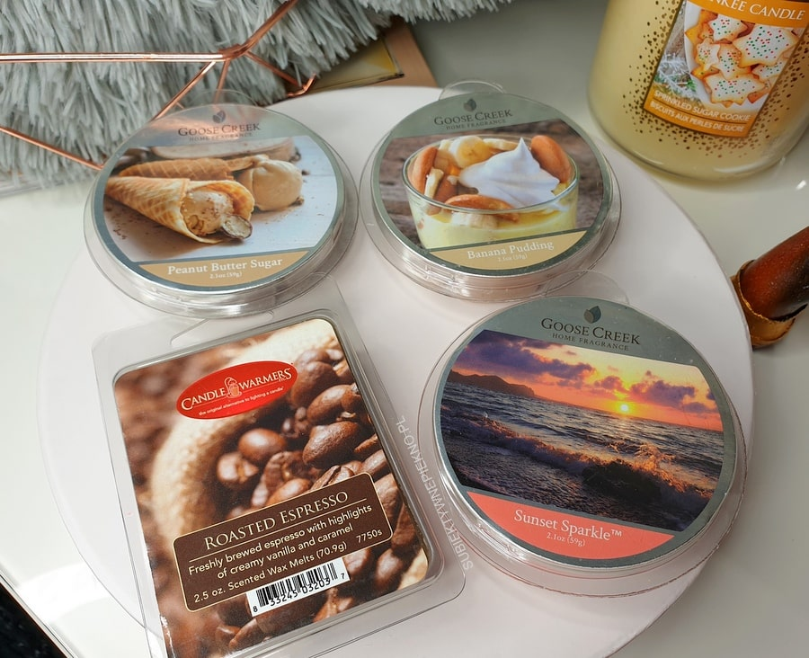 Woski Goose Creel Peanut Butter Sugar, Banana Pudding, Sunset Sparkle i Candle Warmers Roasted Espresso