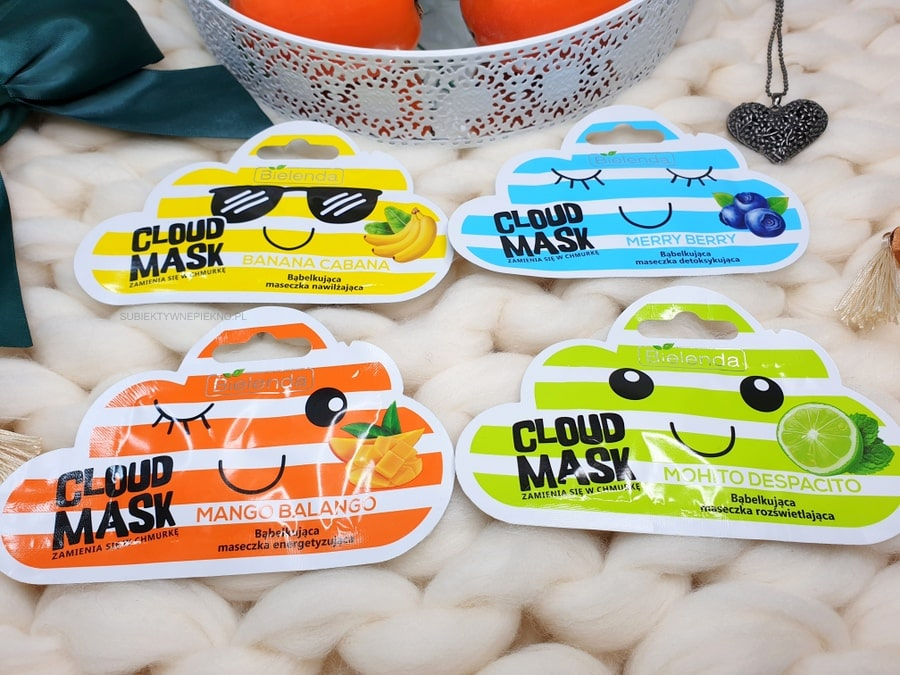 Cloud Mask Bielenda - maseczki bąbelkujące. Banana Cabana, Merry Berry, Mohito Despasito, Mango Balango