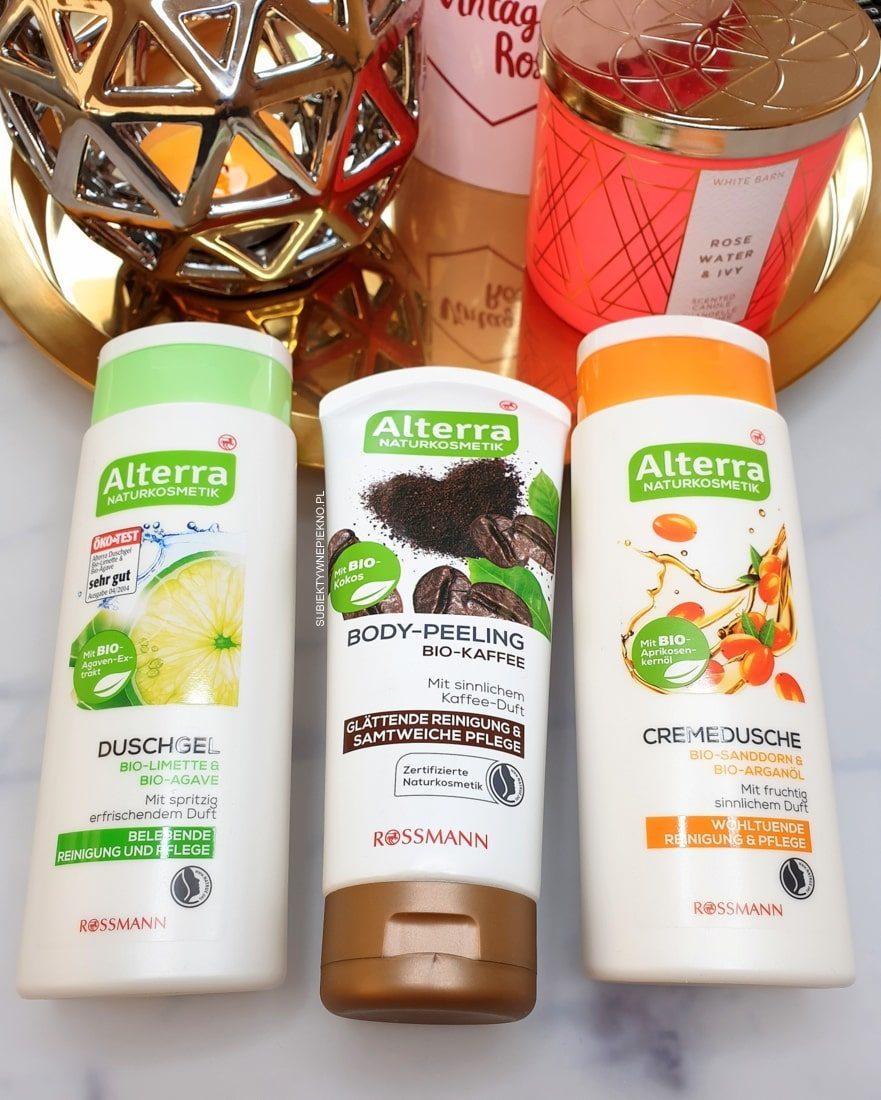Peeling kawowy Alterra i żele pod prysznic