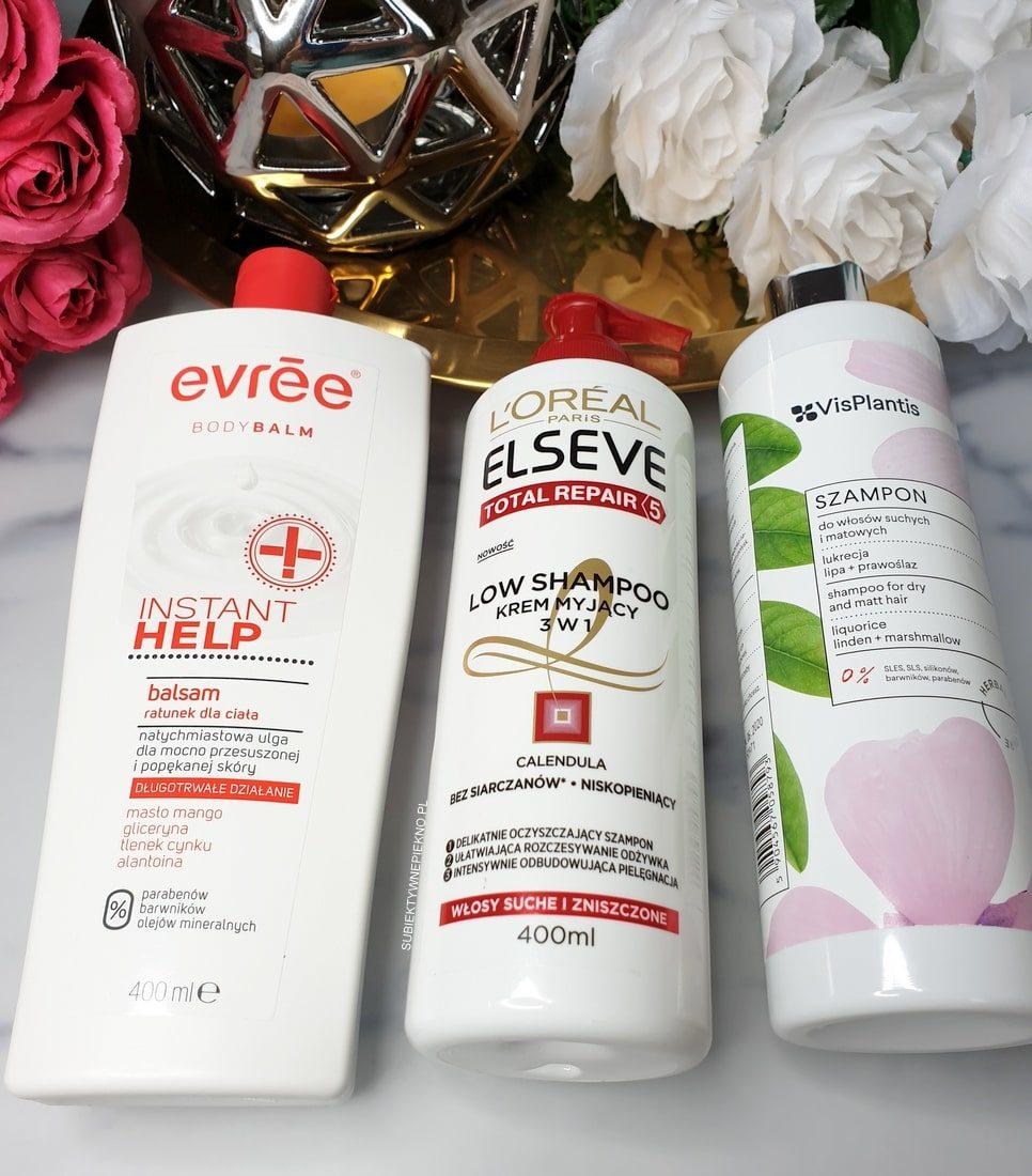 DENKO LUTY 2019 - balsam Evree Instant Help, Low Shampoo LOreal, Szampon VisPlantis do włosów matowych