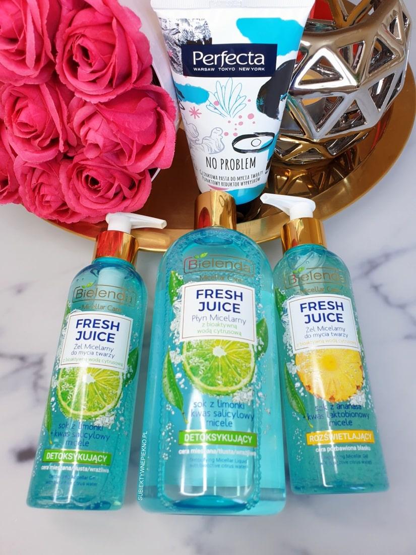 Seria Bielenda Fresh Juice i glinkowa pasta do mycia twarzy Perfecta No Problem
